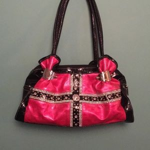 Handbags - NWOT Pink/black rhinestone purse adorable